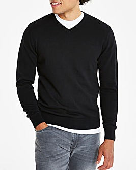 Black V-Neck Cotton Jumper Long