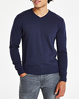 Navy V-Neck Cotton Jumper Long