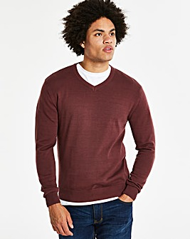 Capsule Wine Marl V-Neck Cotton Jumper Long