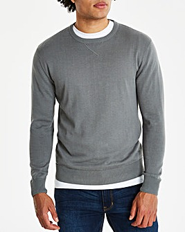 Mid Grey Crew Neck Cotton Jumper Long