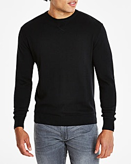 Black Crew Neck Cotton Jumper