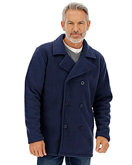 Navy Fleece Pea Coat