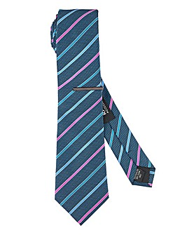 Navy/Multi Stripe Tie with Tie Clip