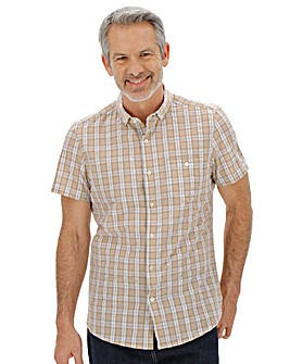 Short Sleeve Seersucker Checked Shirt