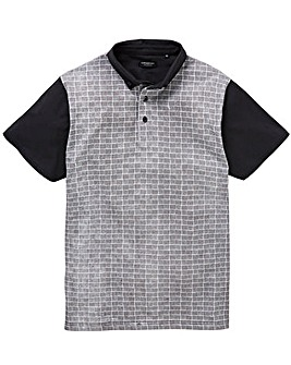 Black Short Sleeve Jacquard Polo