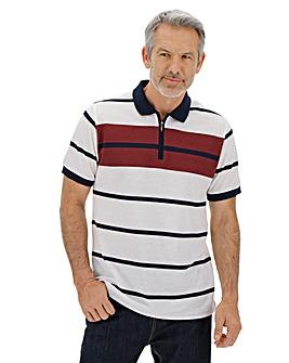 Pique Zip Neck Polo Shirt