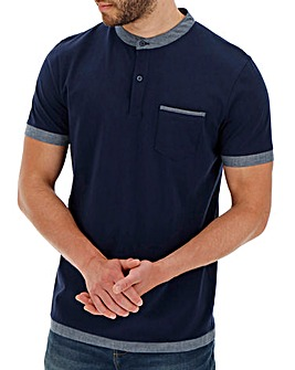 Navy Grandad Collar Polo Shirt