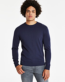 Capsule Navy Crew Neck Cotton Jumper L