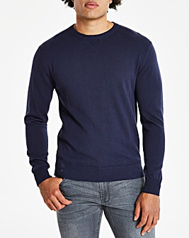 Navy Crew Neck Cotton Jumper Long