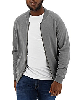 Mid Grey Cotton Bomber Long