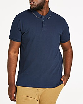 Navy Stretch Tipped Polo Long