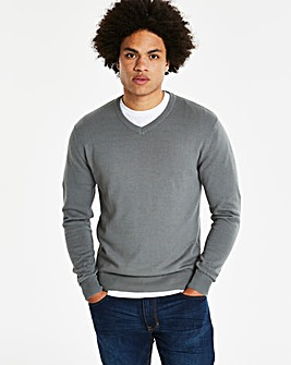 Mid Grey V-Neck Cotton Jumper