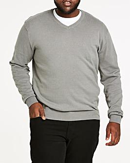 Mid Grey V-Neck Cotton Jumper