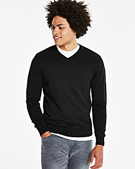 Capsule Black V-Neck Cotton Jumper R