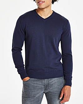 Capsule Navy V-Neck Cotton Jumper R