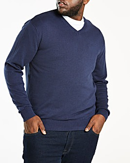 Navy V-Neck Cotton Jumper