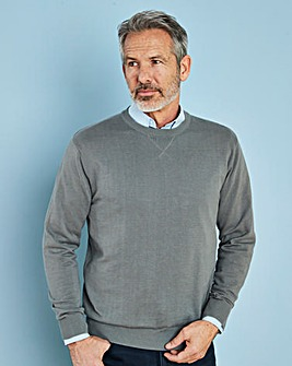 Mid Grey Crew Neck Cotton Jumper