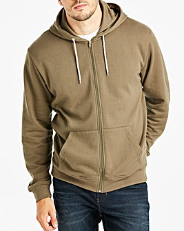 Khaki Full Zip Hoody Long