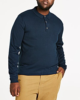 Navy Long Sleeve Knitted Polo Regular
