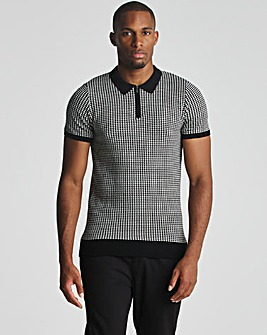 Black Dogtooth Zip Neck Knitted Polo