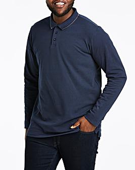 Navy Long Sleeve Tipped Polo Long