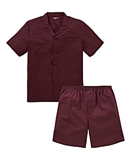 Wine Short Sleeve Plain PJ Set