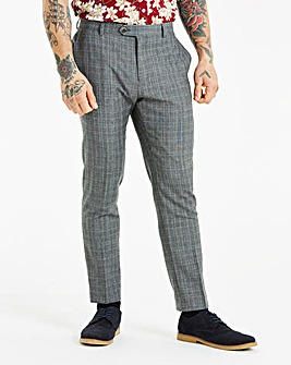 W&B LONDON Slim Fit Check Trousers 31in