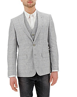 Grey Check Bromley Linen Blazer Regular