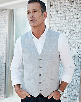 Grey Check Bromley Linen Waistcoat