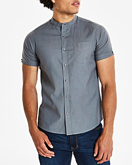 Capsule Charcoal Grandad Oxford Shirt L