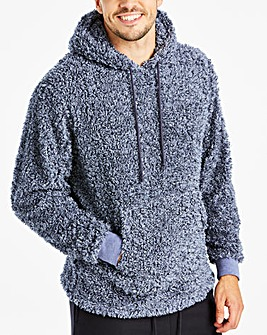 Navy Borg Fleece Hooded Top