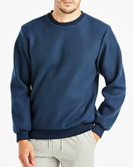 Navy Fleece Crew Neck Top