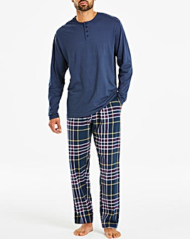 Plum Check Grandad PJ Set