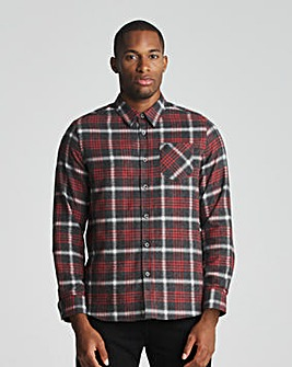 Red Long Sleeve Brushed Check Shirt