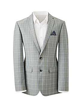 Light Grey Check Henry Suit Jacket