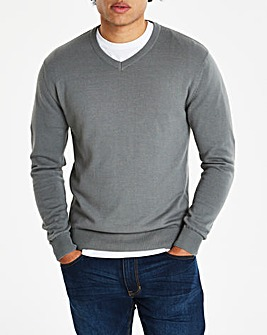 Capsule Mid Grey V-Neck Cotton Jumper R
