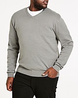 Mid Grey V-Neck Cotton Jumper Long