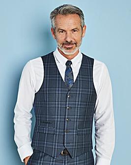 W&B LONDON Blue Check Waistcoat