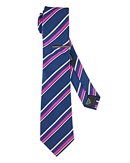 Navy/Pink Stripe Tie with Tie Clip