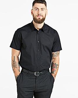 Black Short Sleeve Formal Shirt Long