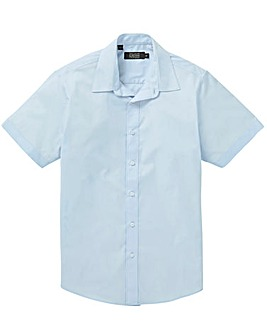 Blue Short Sleeve Formal Shirt Long