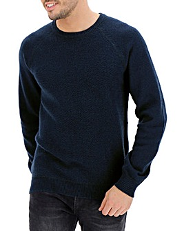 Blue Crew Neck Wool Jumper Long