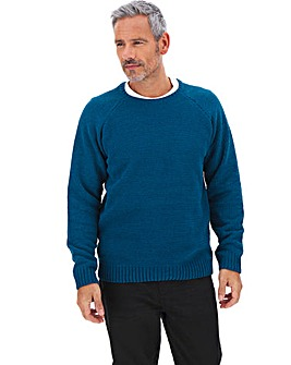 Teal Chenille Crew Neck Jumper Long