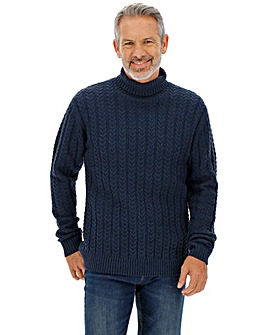 Navy Cable Wool Mix Roll Neck Jumper