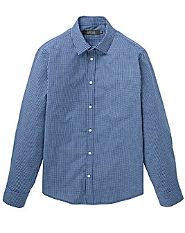W&B London Blue Check L/S Formal Shirt L