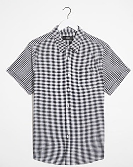Black Short Sleeve Gingham Cotton Shirt