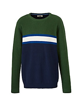 Green Chest Stripe Crew Neck Jumper Long