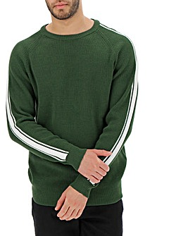 Sleeve Detail Crew Neck Jumper Long