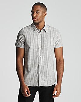Green Short Sleeve Cotton Stripe Oxford Shirt