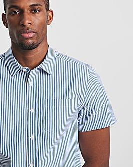 Blue Short Sleeve Cotton Stripe Oxford Shirt